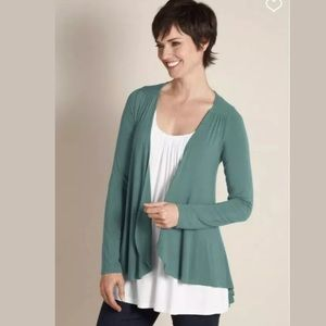 Soft Surroundings Soft Drapey Topper Teal Cardigan